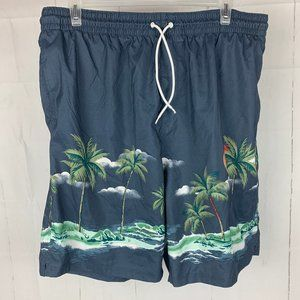 Old Navy Blue Palm Tree Beach Swim Trunks Shorts
